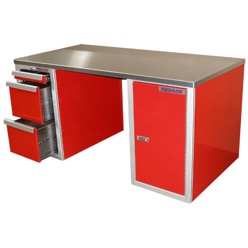 Red Aluminum Desk For Garage And Shop