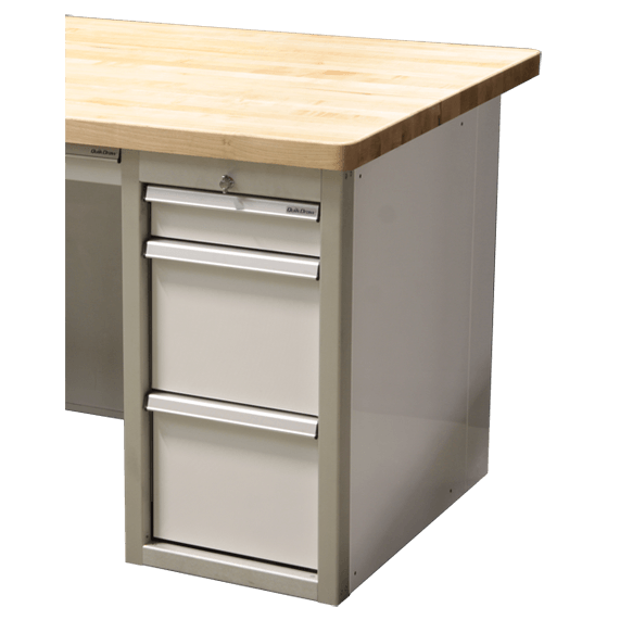 Aluminum File Cabinet Desk With Butcher Block