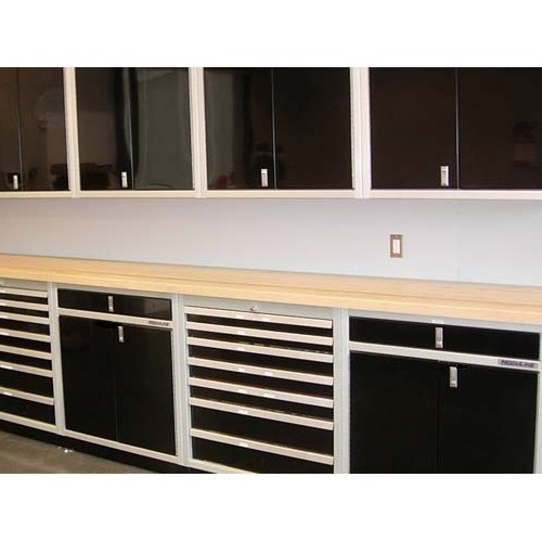 Butcher Block Workbench Top In Cabinet System