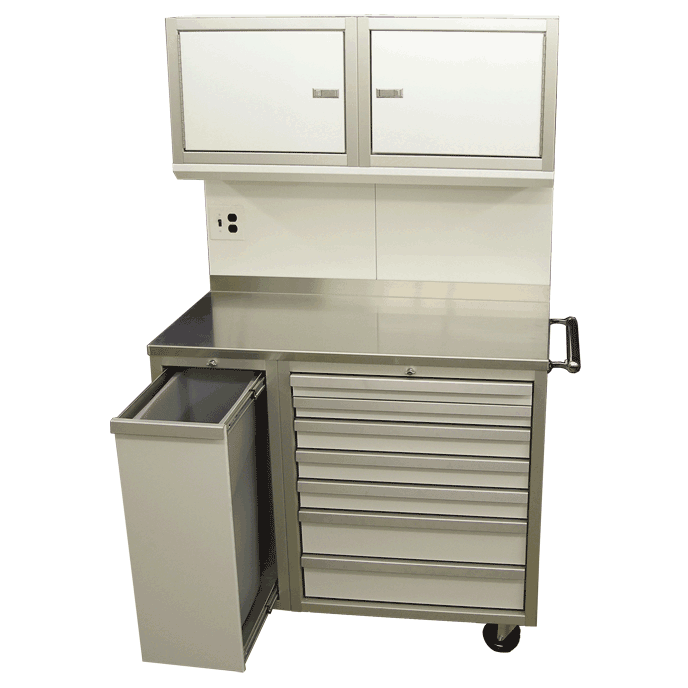 Mobile Workstation With Waste Recycle Bin