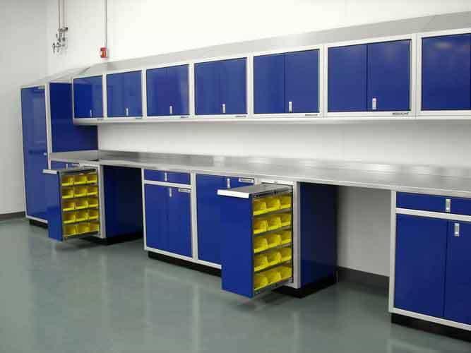 Blue Aluminum Parts Bin Cabinets In Garage