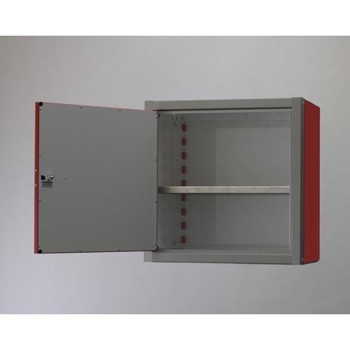 """Double Door Aluminum Wall Storage Cabinet 18"""" Tall Open"""
