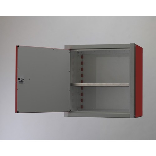 "Single Door Aluminum Wall Storage Cabinet 24"" Tall Open"