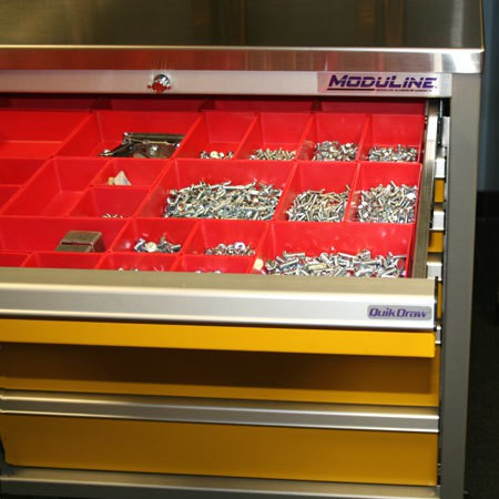 Drawer Bins for Aluminum Cabinet Systems