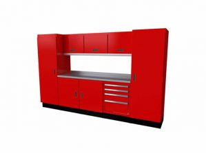 10' Wide Red Moduline Select™ SERIES Garage And Shop Aluminum Cabinet Combination #SEGC010-020