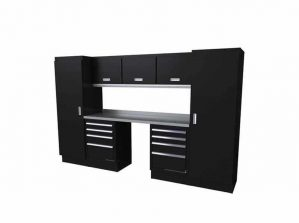 10' Wide Black Moduline Select™ SERIES Garage And Shop Aluminum Cabinet Combination #SEGC010-030