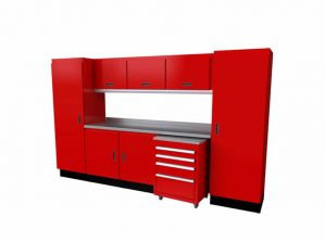 "10'-4"" Wide Red Moduline Select™ SERIES Garage And Shop Aluminum Cabinet Combination #SEGC010-040"