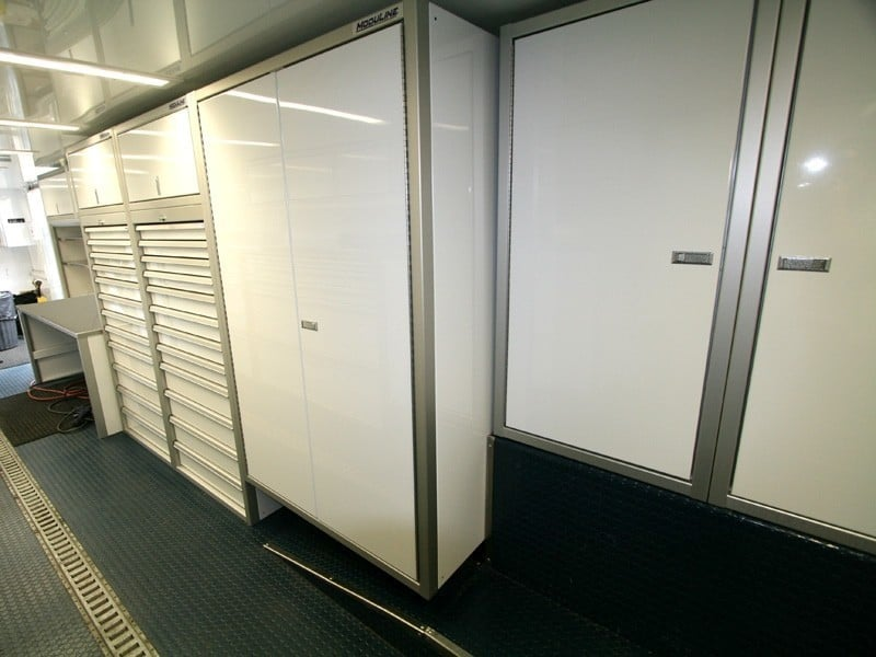 Lightweight Aluminum Cabinets and Desk in Enclosed Trailer