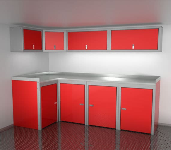 Sportsman II™ Red Aluminum Cabinets With Overhead Corner Cabinet