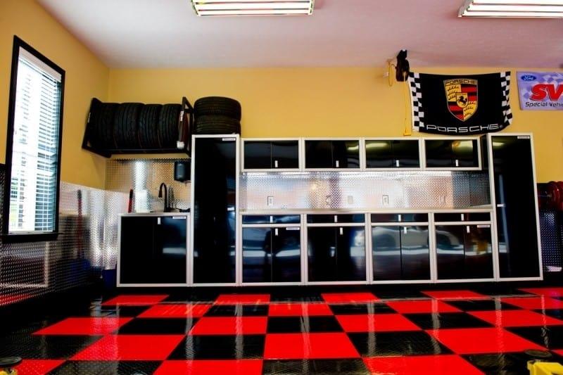 Dream Garage Black Aluminum Cabinet Organization Layout